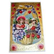 MAB: To My Valentine Postcard (Girls In Basket Design)