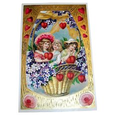 MAB: To My Valentine Postcard (Girls In Basket Design)