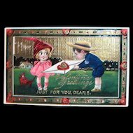 B.S.: Valentine Greetings, Just For You, Dearie Postcard - 1912