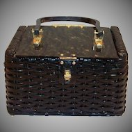 Gary Gail, Dallas: Black Straw Box Purse With A Black Marble Look Lucite Lid