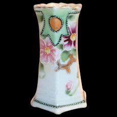 Hand Painted Porcelain Floral Pansy Design Hat Pin Holder