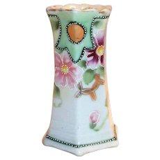Hand Painted Porcelain Floral Pansy Design Hat Pin Holder