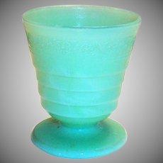 McKee Jadite Glass Footed Tumbler With Floral Design Trim