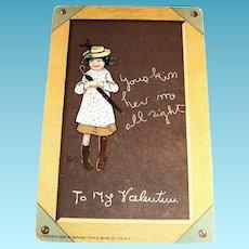 Tuck's: To My Valentine Postcard (Little Girl On Chalkboard)-1902