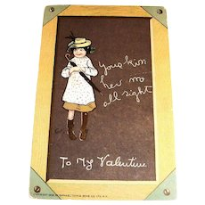 Tuck's: To My Valentine Postcard (Little Girl On Chalkboard)-1902