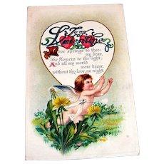Vintage To My Valentine Postcard