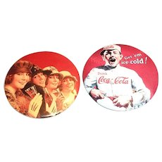1990's Coca Cola Round Advertising Purse Size Mirror