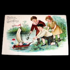 ABS: Easter Greeting Postcard - Children Playing With Toy Boat Scene