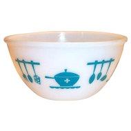 "Hazel Atlas: Retro Turquoise Kitchenaid Utensils Design 8"" Rd Bowl"