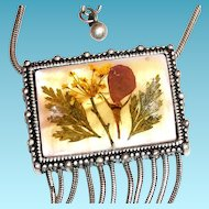 Lovely Pressed Flower Pendant Necklace