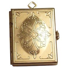 Gold Tone & Etched Filigree Design Top Book Shaped Locket