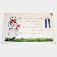O Little Maiden Patriotic Valentine Postcard