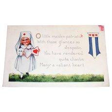 O Little Maiden Patriotic Valentine Postcard
