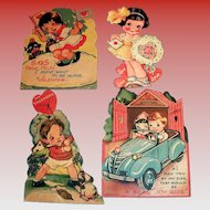 Four Vintage 1930's Small Valentines