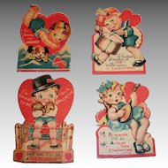 Four 1930's Boxer, Drummer, Banjo Player & Swimmer Small Valentines