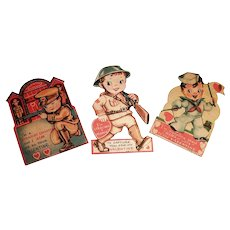3 Darling Vintage 1930's Military Style Single Valentines