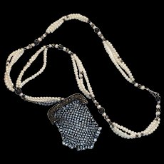 Antique Long Imitation Pearl & Filigree Metal Beaded Necklace With Attached Mesh Purse