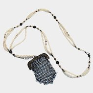 Mesh Purse & Simulated Pearls Necklace