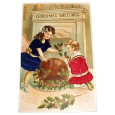 MAB: Christmas Greetings Silk Postcard (Two Girls Dressed In Silk Dresses)