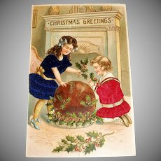 MAB: Christmas Greetings Postcard (Two Girls Dressed In Satin Dresses)