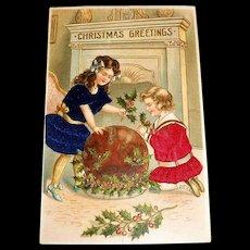 MAB: Christmas Greetings Postcard (Two Girls Dressed In Satin Dresses)
