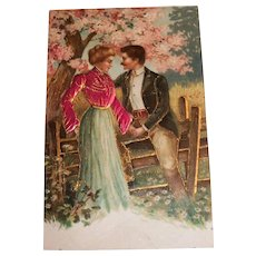 Lovely Satin Material Top Victorian Style Lady & Man Courting Postcard