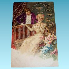 Vintage Victorian Style Couple Courting Postcard