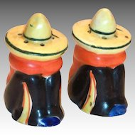 Hand Painted Porcelain Mexican Siesta Men Salt & Pepper Shakers
