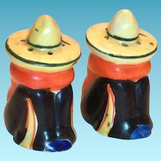 Hand Painted Porcelain Mexican Siesta Men Salt & Pepper Shakers