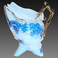 Darling Porcelain Shell Shaped White With A Blue Floral Design Small Creamer