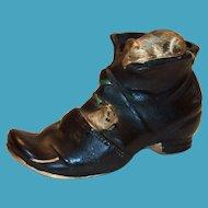 Darling Mice On Old Black Shoe Porcelain Figurine