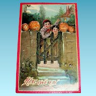 Tuck: Vintage Halloween (Boys At Gate With Pumpkins) Postcard