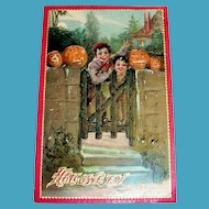 Tuck: Vintage Halloween (Boys At Gate With Pumpkins) Postcard