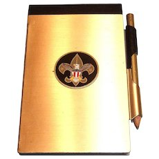 Boys Scouts Gold Tone Metal Tablet Holder & Pencil