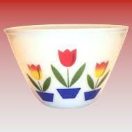 "Fire King 8 1/2""Rd Glass Tulip Bowl"