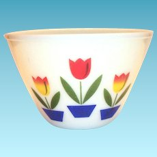 "Fire King 8 1/2""Rd Glass Tulip Bowl"