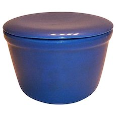 Cobalt Blue Oxford Ware Flat Lid Covered Round Bowl