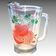 Clear Glass With Oranges & Leaf Design Glass Orange Juice Pitcher