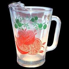 Clear Glass With Oranges & Leaf Design Glass Orange Juice Pitcher