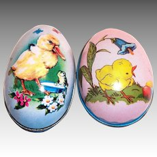 Two Vintage Tin Easter Egg Candy Holders
