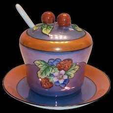 Blue & Rust Colored Lustre Ware Jam Jar & Plate Set
