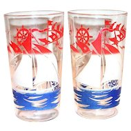 Vintage Red, White & Blue Sailboat Design Glass