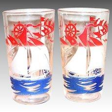 Vintage Red, White & Blue Sailboat Design Glass