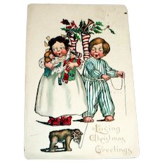 Loving Christmas Greetings Postcard (Children With Toys)