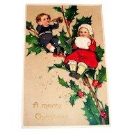 A Merry Christmas Postcard (Boy & Girl on Holly Branch)