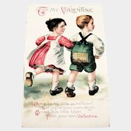 Int'l Art Publisher's: To My Valentine Postcard (Children walking arm & arm)