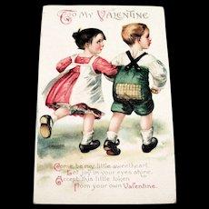Int'l Art Publisher's: To My Valentine Postcard (Children walking arm & arm)