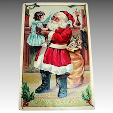 A Merry Christmas Postcard (Santa Holding Little Girl)