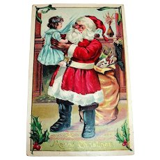 A Merry Christmas Postcard (Santa Holding Little Girl)