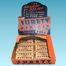 Surety Aspirin Cardboard Display With 6 Boxes Of Aspirin